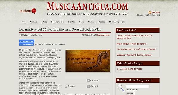 Las músicas del Códice Trujillo en el Perú del siglo XVIII | MusicaAntigua.com