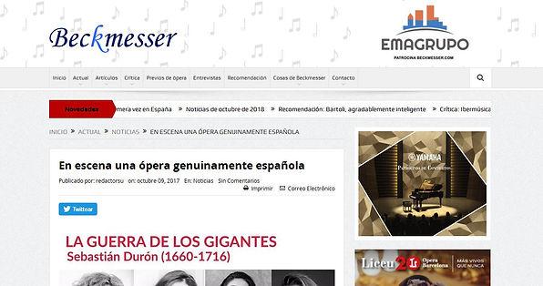 En escena una ópera genuinamente española | Beckmesser