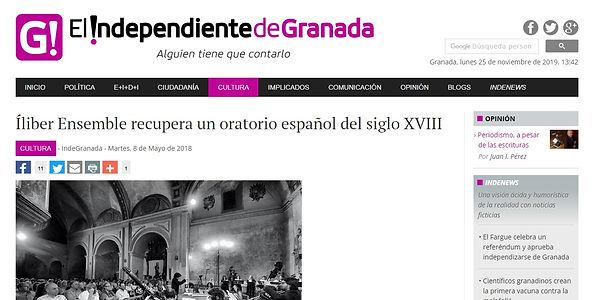 Íliber Ensemble recupera un oratorio español del siglo XVIII | El Independiente de Granada