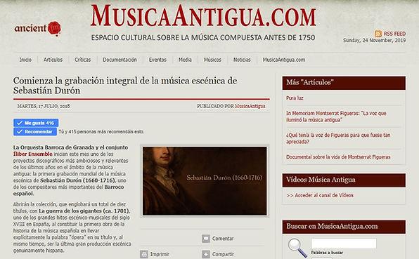 Comienza la grabación integral de la música escénia de Sebastián Durón | MusicaAntigua.com