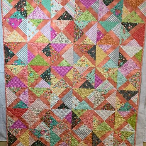 Orange patchwork quilt