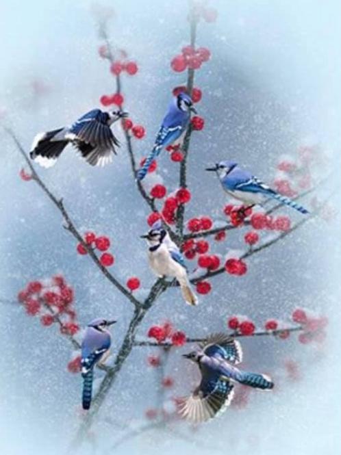 Winter's Wings digital print fabric panel by Hoffman