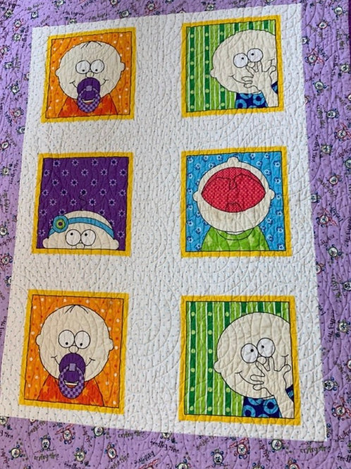 Purple Peek a boo baby quilt