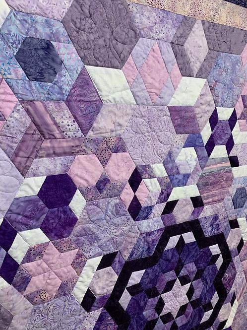 Purple Hexplosion hand pieced Quilt