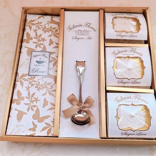 シュガーレース6枚  紅茶6袋 スプーン1本 (6000円~8000円)