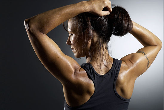 Woman sweating sweat problem