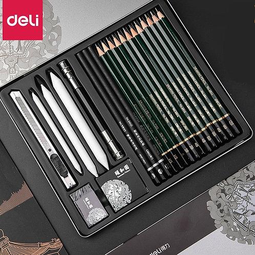 DELI Professional Sketch Pencils Set Charcoal
