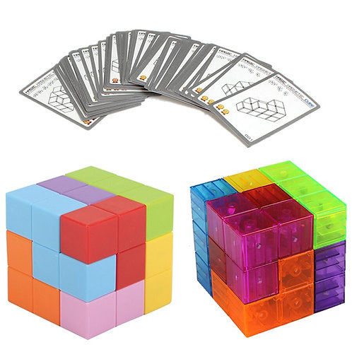 Magnetic cube game with cards