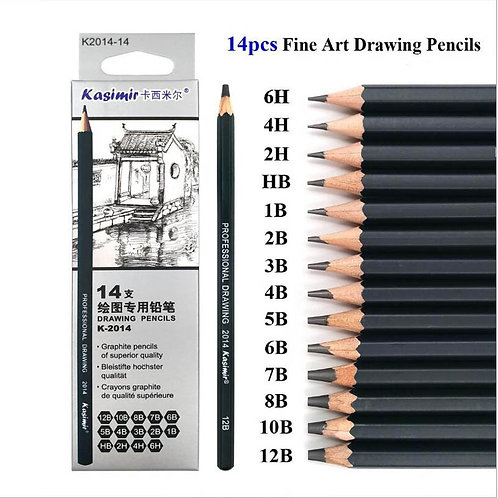 14Pcs Wooden Pencil Set: Hard/Medium/Soft Sketch Charcoal Pencils