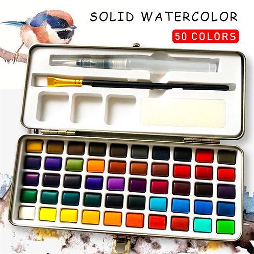 50 Colors Solid Watercolor Set Metal Paint Box