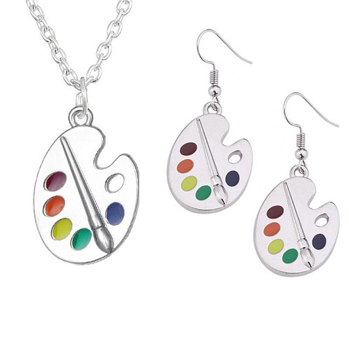 Paint Palette Drop Earrings and Necklace