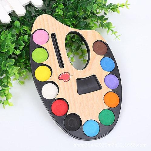 12 Colors Solid Watercolor KIds Paints w/ Paintbrush