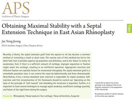Obtaining Maximal Stability with a Septal Extension Technique in East Asian Rhinoplasty