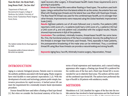 Featured on Aesthetic Plastic Surgery Journal: Combined, Minimally Invasive, Thread-based Facelift (