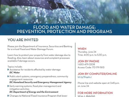 Flood and Water Damage Forum, 4:00-5:30 p.m., Thursday, June 24, 2021