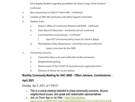 ANC 4B06 Single Member District Meeting - April 5, 2021 @7pm