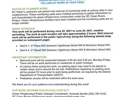 DC Clean Rivers Project Green Infrastructure Program follow-up Work