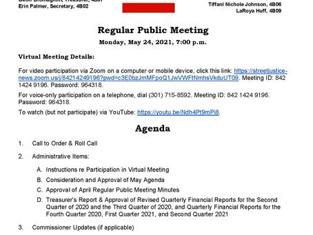 ANC 4B Regular Public Meeting - Monday, 5/24/21, 7:00 pm, Virtual Meeting via Zoom