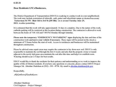 DDOT Restoration Beginning June 29th