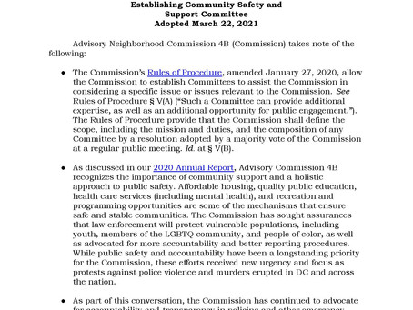 ANC 4B Creation of Community Safety and Support Committee