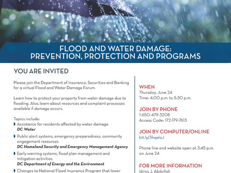 Flood and Water Damage Prevention, Protection and Programs