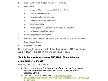 June 7, 2021 ANC 4B06 Single Member District Meeting
