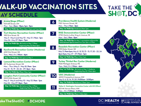 Mayor Bowser Announces Days and Hours of Walk-Up Vaccination Sites