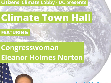 Congresswoman Norton to Speak at Climate Town Hall Presented by Citizens' Climate Lobby-D.C.