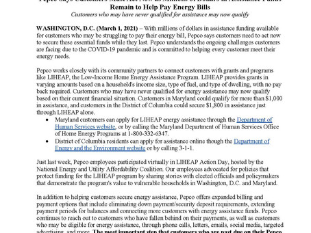 Pepco News Release: Customers Must Act Now as Millions of Dollars in Assistance Funds Remain