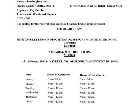 Woodward Liquors Renewal License