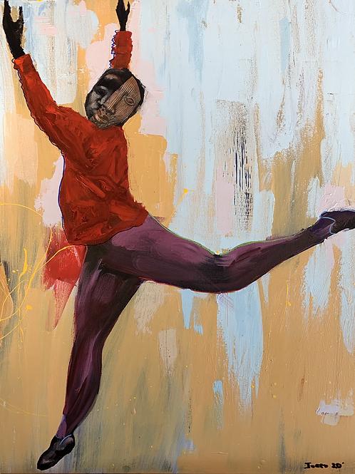 """Rise #I""John Obafemi Jones 2021 24"" x 36"" Mix Media on canvas"