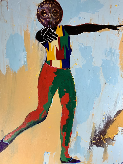 """Jumbie Dancer"" 2020 Acrylic with collage on canvas 24"" x 30"""