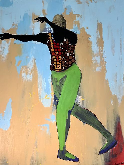 """Rise"" John Obafemi Jones 2021 24"" x 36"" Mix Media on canvas"