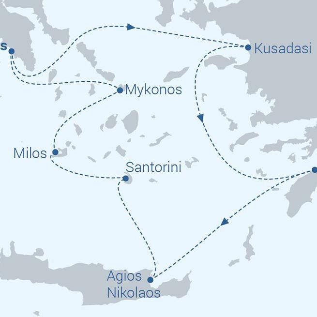 Idyllic Aegean Sea exploring the Greek Islands