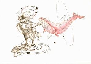 voyage intérieur de l'hypno relaxation montrant un astronaute en lévitation dessine une baleine rose