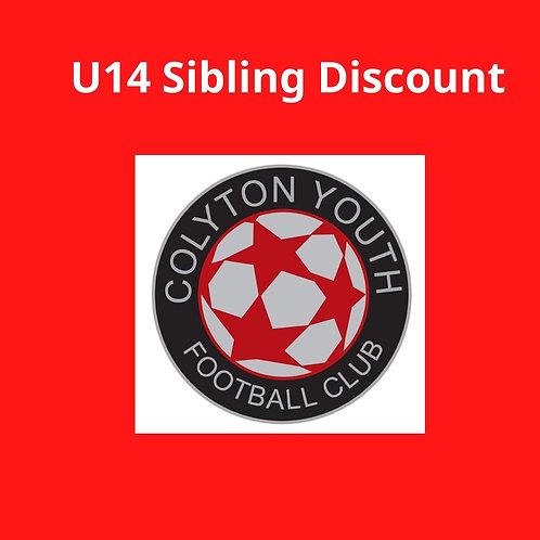 U14s Sibling Discount sub 2020-2021