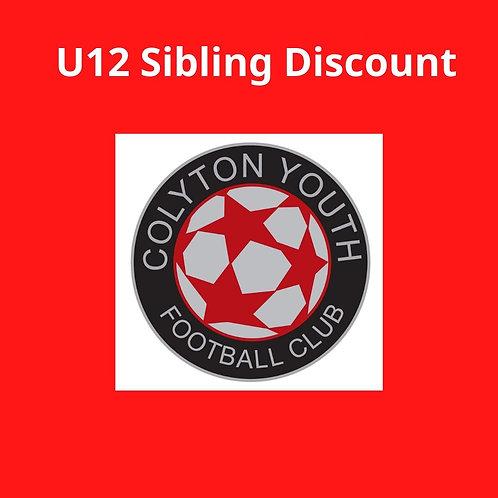 U12s Sibling Discount sub 2020-2021