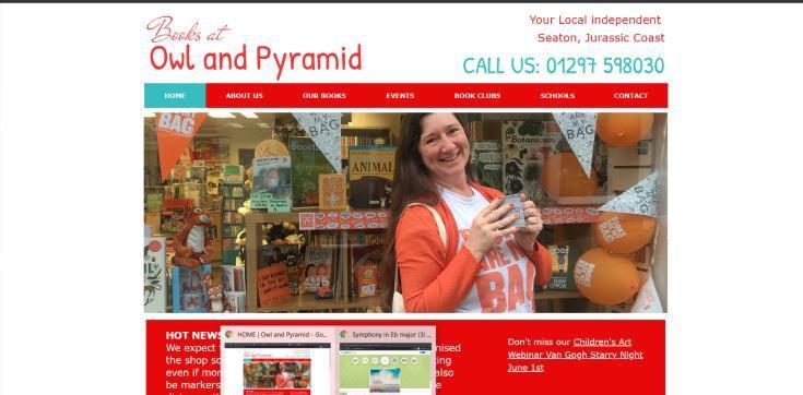 Owl and Pyramid Bookshop website