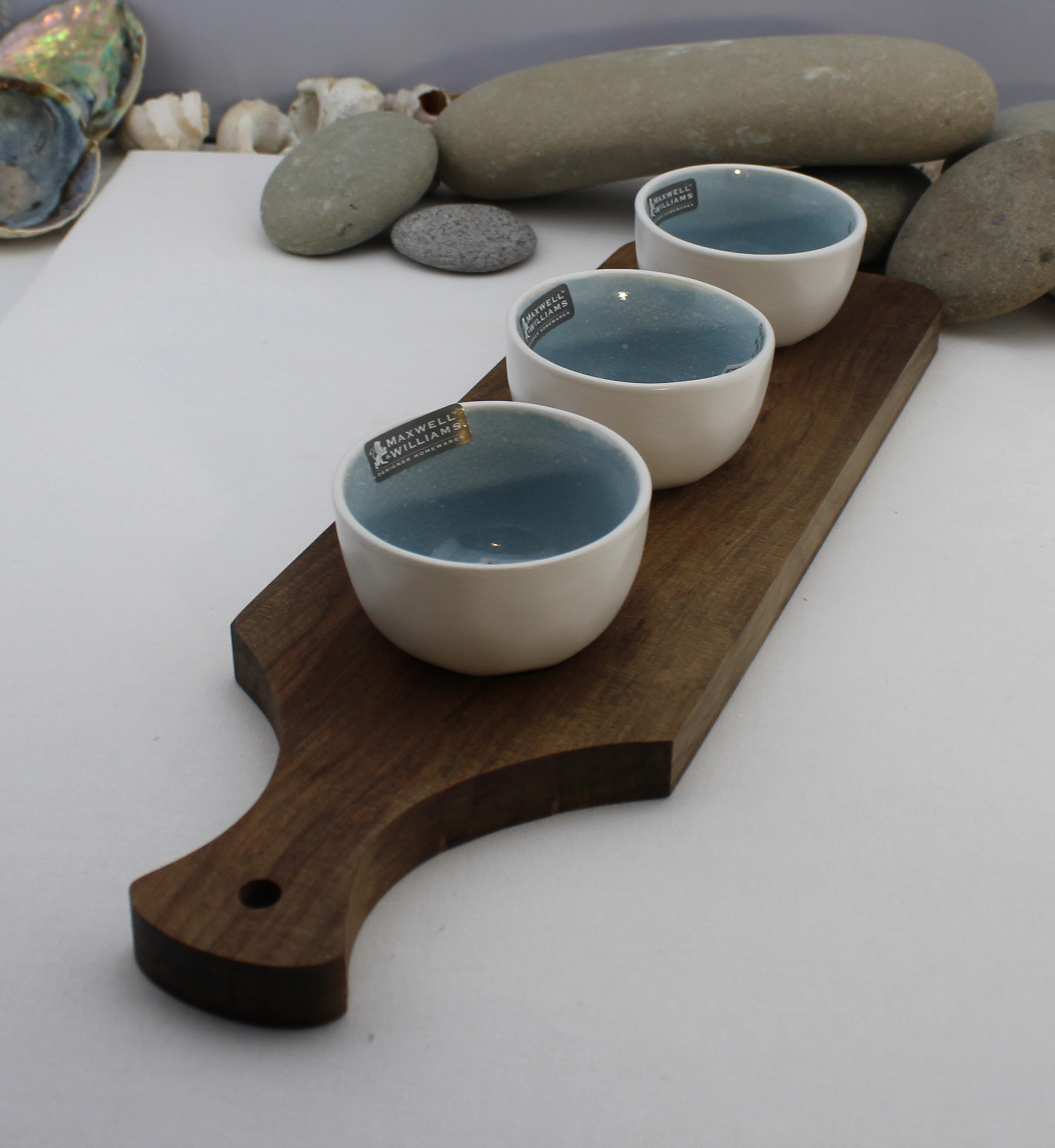 Nz Made Rimu River Wood Serving Platter With 3 Handcrafted Dipping Bowls Breeze