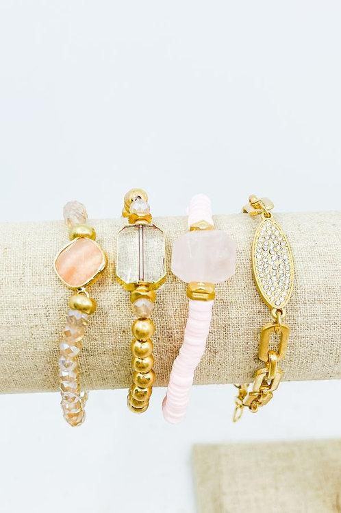 Multi pink and gold bracelet set