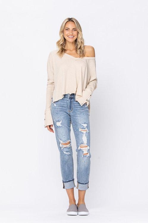 Judy Blue Paint splattered Boyfriend jeans