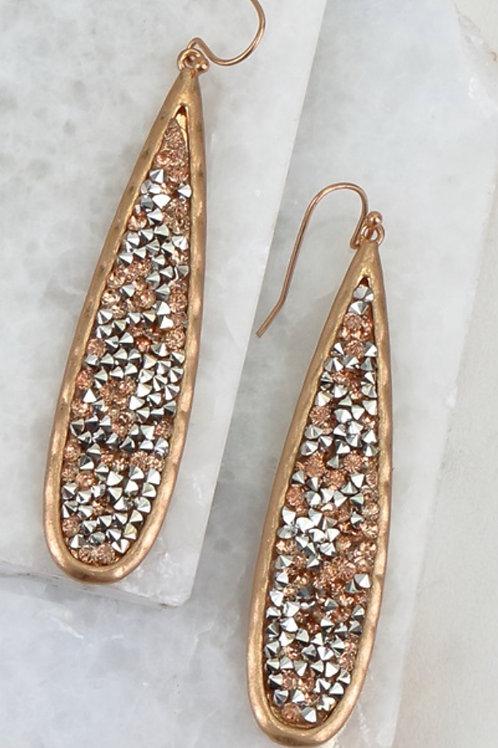 Sunburst Glitter Stone Earring