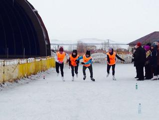 Первые места в первенстве города по конькобежному спорту.