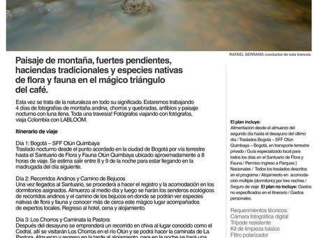 Próxima travesía fotográfica en el valle del río Otún en el Quindío, de octubre 13 al 17