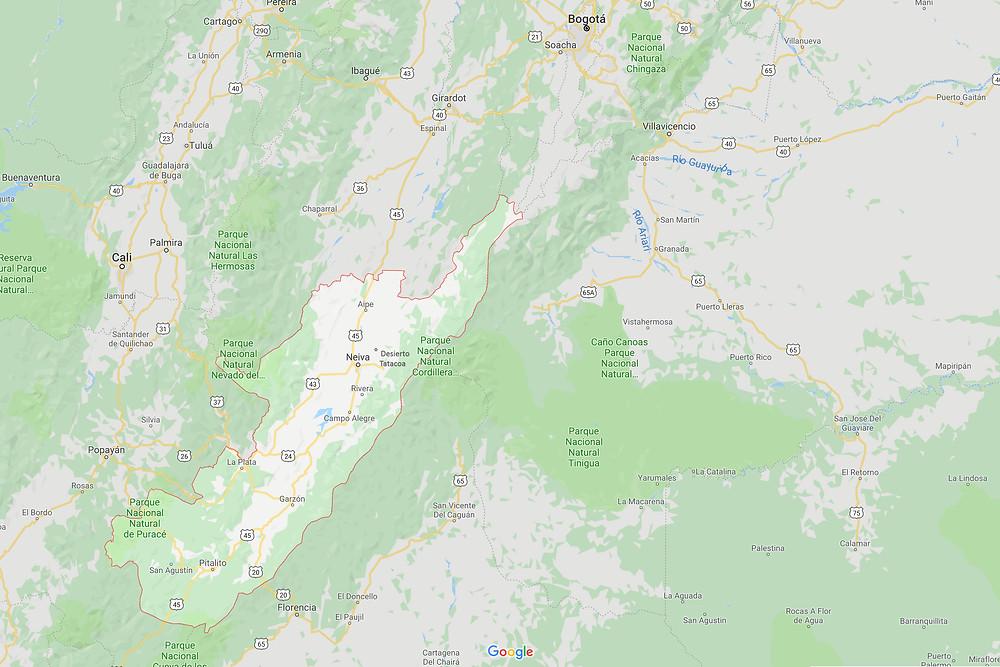 Ubicación departamento del Huila - Fuente: Google maps