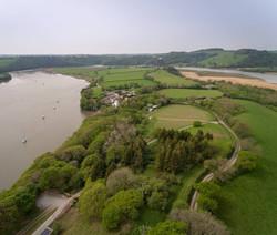 aerial shot of vineyard