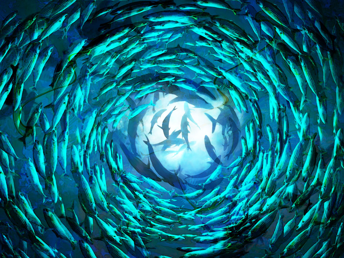 Shoal of fish II -120x90cm | Mixed-Media