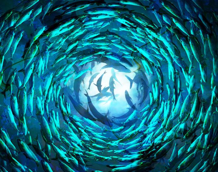 Shoal of fish II -120x90cm   Mixed-Media
