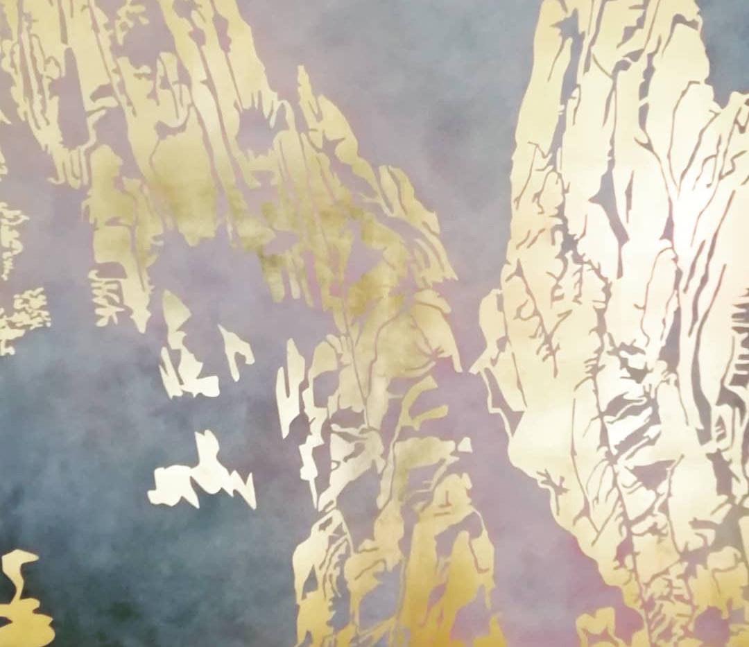 Huang Shan | Schlagmetall Gold | 120x120