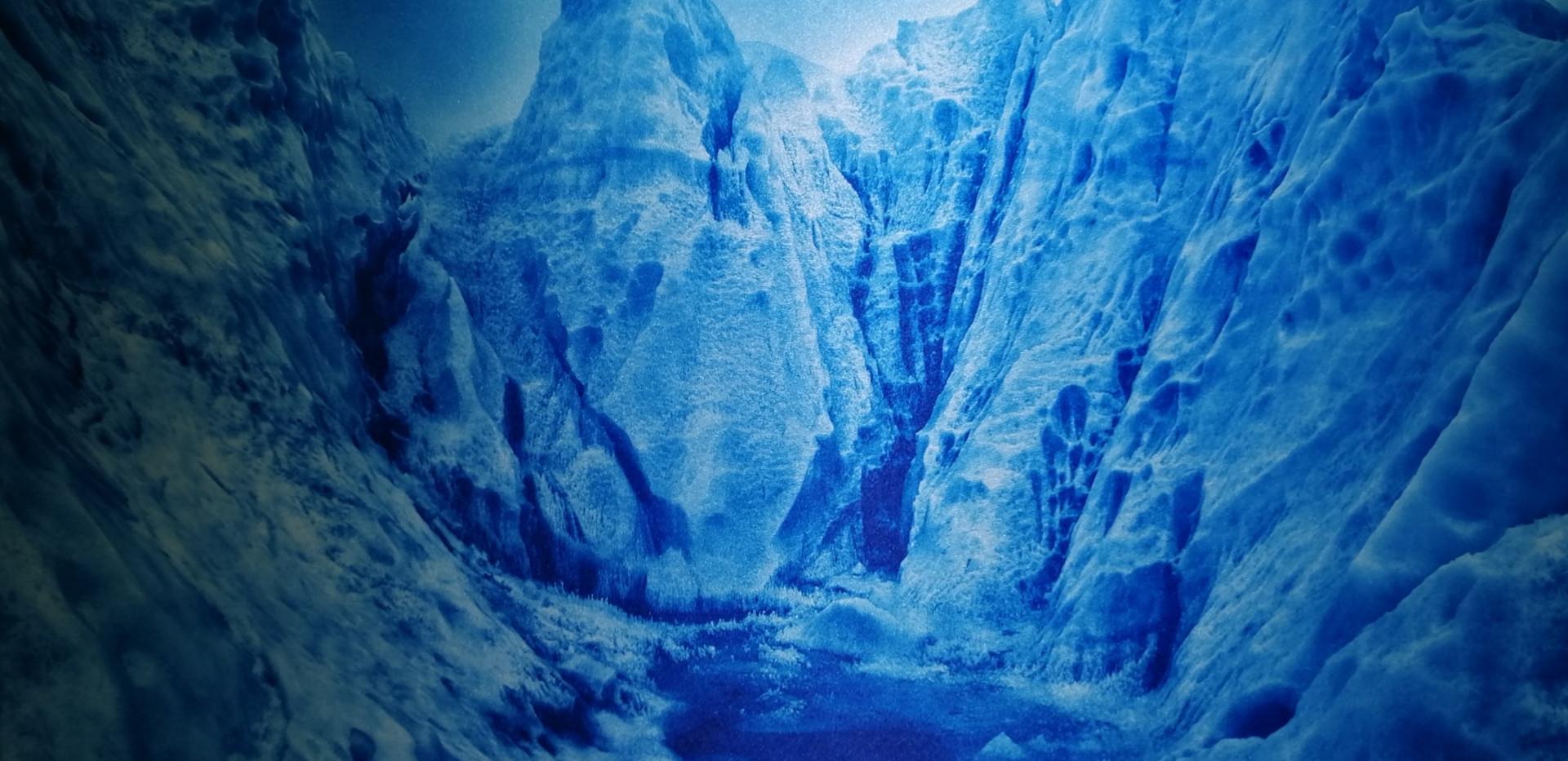 Analoge Fotografie auf Seide gedruckt | Blaue Gletscher | 80x70cm gerahmt | Euro 1700,-